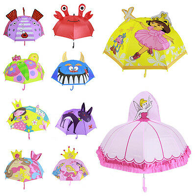 Kids Girls Boy Cartoon Umbrella Children Anime Pop-up Ear Dome Hook Brolly Gift