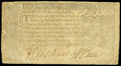 April 10, 1774 Maryland One Third Of A Dollar Colonial Currency -Md 63