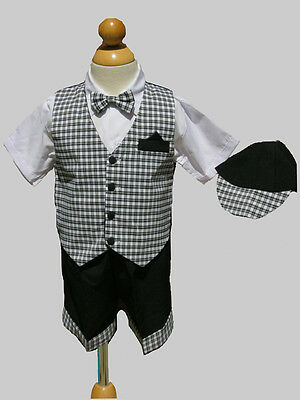 Infant Toddler Boys Summer Short Outfit Set, Black/White Sz:  Small to 4T