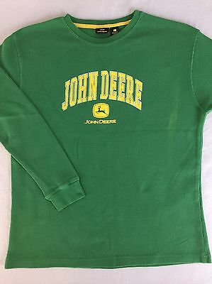 John Deere Thermal Shirt Green Long Sleeve Cotton Polyester Men Size L