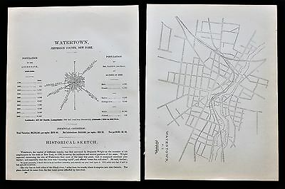 1887 Watertown New York Map Jefferson County Colored White Population RARE
