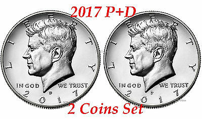 2017 Kennedy Half Dollars 2 coins set P + D Clad President 50¢ coin US Mint