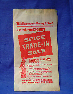 Vintage Kroger Grocery Store Paper Bag for Spice Tin Trade In Advertising