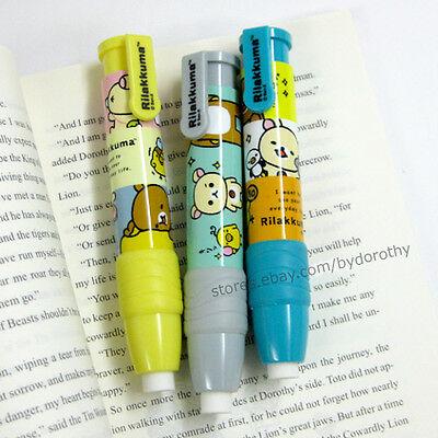 1x Cute Rilakkuma Cartoon Push Button Pencil Shaped Eraser School Supplies San-x