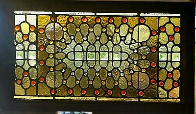 Victorian Jeweled Stained Glass Window 18 By 34
