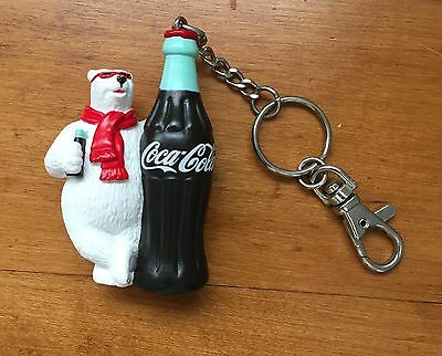 Coca Cola Collectible Keychain Polar Bear  with Coke Bottle
