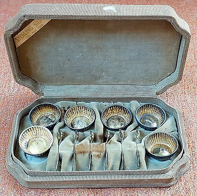 Webster set of 6 open salts & salt spoons original box sterling silver NO mono
