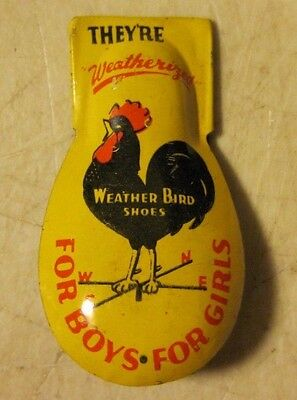 Vintage 1940's Weather Bird Shoes Tin Litho Toy Clicker Noise Maker USA 1930's