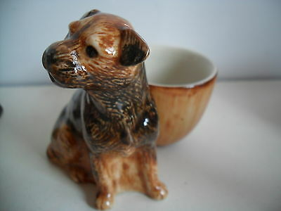 Quail Pottery Ceramic Border Terrier with Egg Cup  Boxed Great Gift Idea