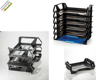 6 PACK Stackable Letter Tray Desk Office File Document Paper