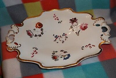 Decorative Plate Serving Dish w/Hand Painted Flowers Gold Trim