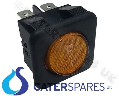 16A Amber Neon Rocker Switch Power On Off Double Pole 4 Pin 25X25Mm Square Ip40