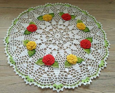 Hand crocheted doilies