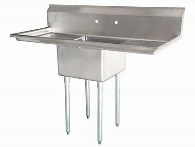 """Stainless Steel 1 Compartment Sink 54"""" x 23"""" with 2 Drainboards NSF Certified"""