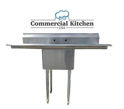 "Stainless Steel 1 Compartment Sink 72"" x 30"" with 2 Drainboards"