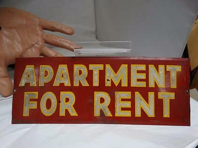 Antique Vintage APARTMENT FOR RENT Gold & Red Reflective Tin Advertising Sign