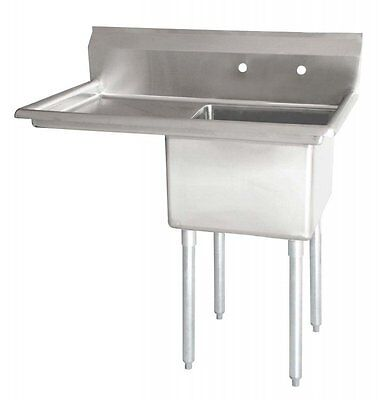 "Stainless Steel 1 Compartment Sink 38.5"" x 24"" with Left Drainboard"