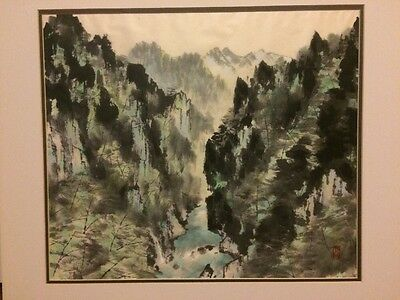 ANTIQUE Asian Chinese WATERCOLOR PAINTING ON Silk PAPER ARTIST SIGN AND RED SEAL