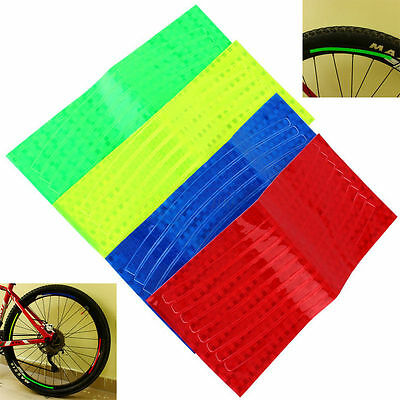 Cycling Fluorescent Bike Bicycle Wheel Rim Stickers Reflective Tape New