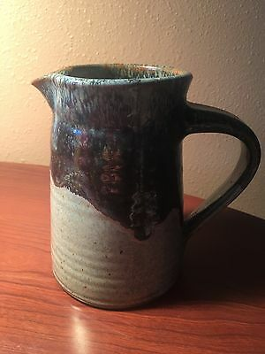 Hand Made Pottery Pitcher Blue Glaze One of a Kind Original Stoneware Pottery