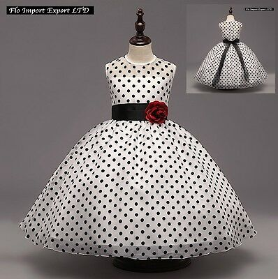 Vestito Bambina Abito Cerimonia Pois Girl Party Dots Princess Dress CDR050