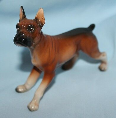 figurine dog Boxer porcelain glazed Japan standing 5 x 4 inches