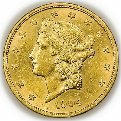 1904 $20 Gold Liberty Head Double Eagle, Large Uncirculated Coin [3063.52]
