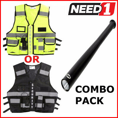 The Ultimate Security Vest Black/HiVis with JMV Baseball Torch Combo Pack