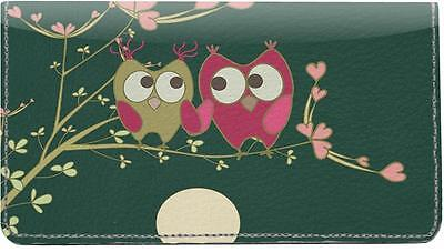 Owl Couple Leather Checkbook Cover