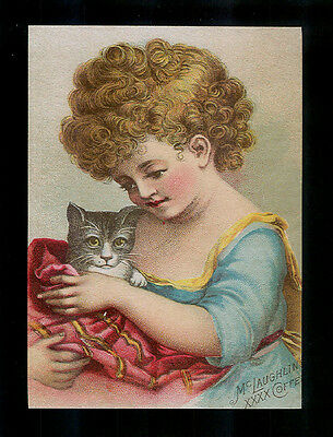 Curly Haired Tot & Her Whimsical Cat-Victorian Trimmed Trade Card-SALE