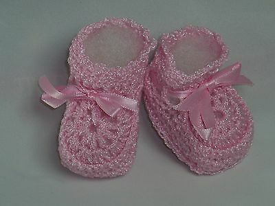 Baby Booties With Ribbon Crochet