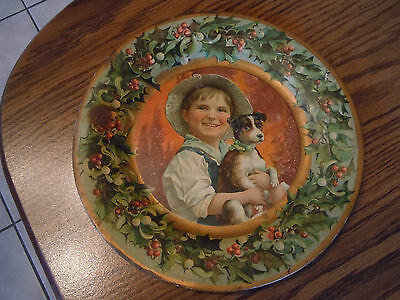 Antique C.D. Kenny Tin Litho Advertising Plate Christmas Boy w/ Dog & Holly