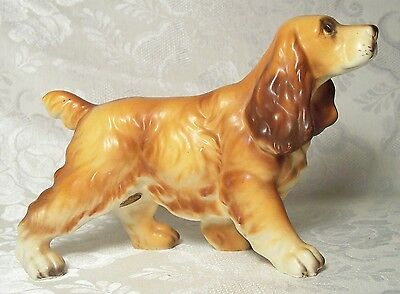 Vintage Porcelain Cocker Spaniel Dog Figurine Thrifco Japan W/ Label