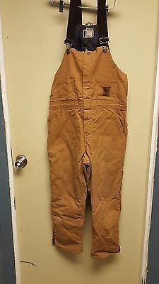 Youth BERNE INSULATED Duck Brown Bib Overalls Size 14/16