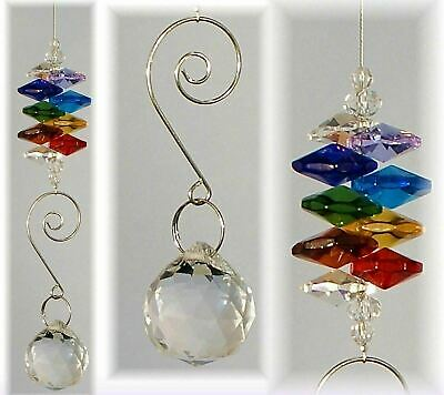 10 CHAKRA CRYSTAL SUNCATCHERS 20mm sphere window hanging rainbow prisms