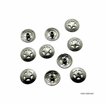 3/4'' 21mm Western Texas Star Concho bright Silver Saddle Concho - 10 Pack