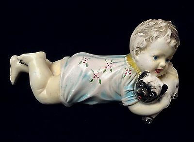 Victorian Antique German Heubach-Type Figurine/Piano Baby with Dog - 10""
