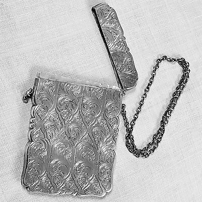 Nathaniel Mills English engraved card case Birmingham 1849 in sterling silver
