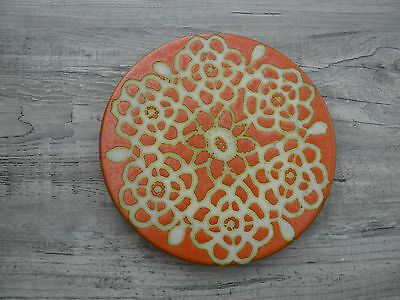 "Vintage Pacific Tile Round Trivet Orange Abstract Geometric Pattern 6"" Diameter"