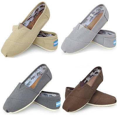 Classics Women's Casual Flats Canvas shoes Solid Color Slip On Shoes