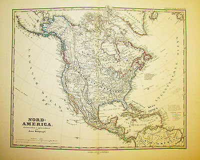 1878 Original Antique Map of North America, Central America and the Caribbean