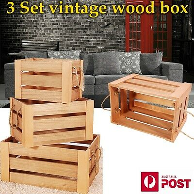 3 Set Wood Vintage Nested Shabby Rustic Chic Crates Storage  Decorative Box BT