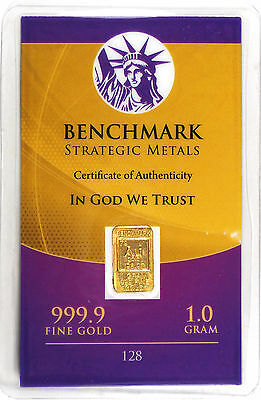 GOLD 1GRAM 24K PURE GOLD BULLION BENCHMARK ELEMENTAL BAR 999 FINE GOLD C22a