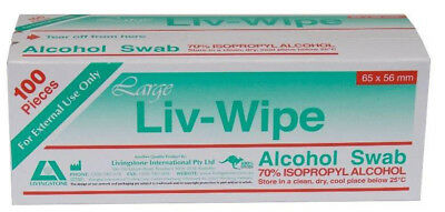 Livingstone Large Alcohol Wipes 65mmx56mm Box100