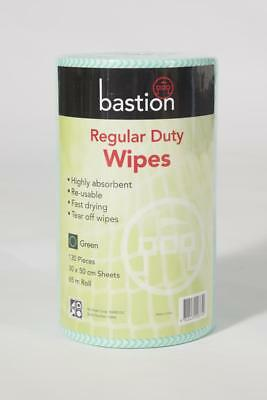 Bastion Regular Duty Wipes 65m Roll 130 Pieces 30X50cm Green Roll