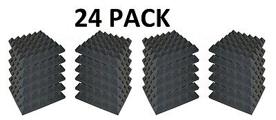 Acoustics Pyramid Foam inch 2 x 12 x 12  (24 Pack) of  Panel for Soundproofing.