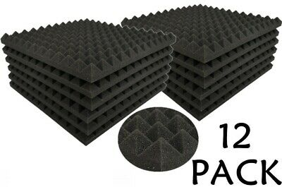 Acoustics Pyramid Foam inch 1 x 12 x 12  (12Pack) of  Panel for Soundproofing.