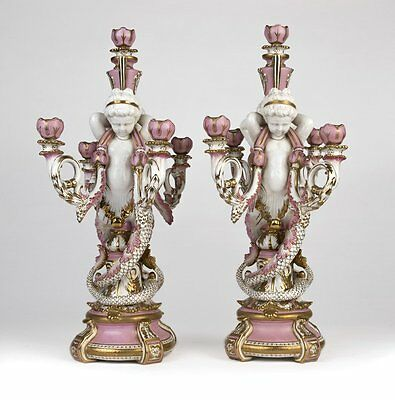 French Sevres-style Pair of Painted Porcelain Candelabra 20th Century
