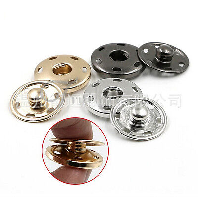 15Pcs Metal Buttons Snap Fastener Press Stud Popper Sew On Craft 10mm-21mm
