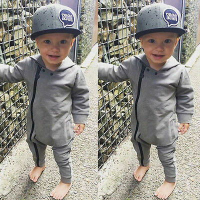 Infant Baby Kids Boy Toddler Romper Jumpsuit Hoodie Bodysuit Clothes Zip Outfits